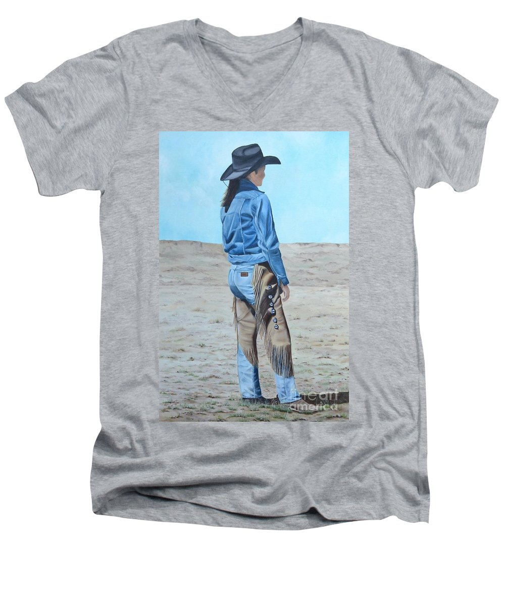Ranch Men's V-Neck T-Shirt featuring the painting Anna After The Ride by Mary Rogers