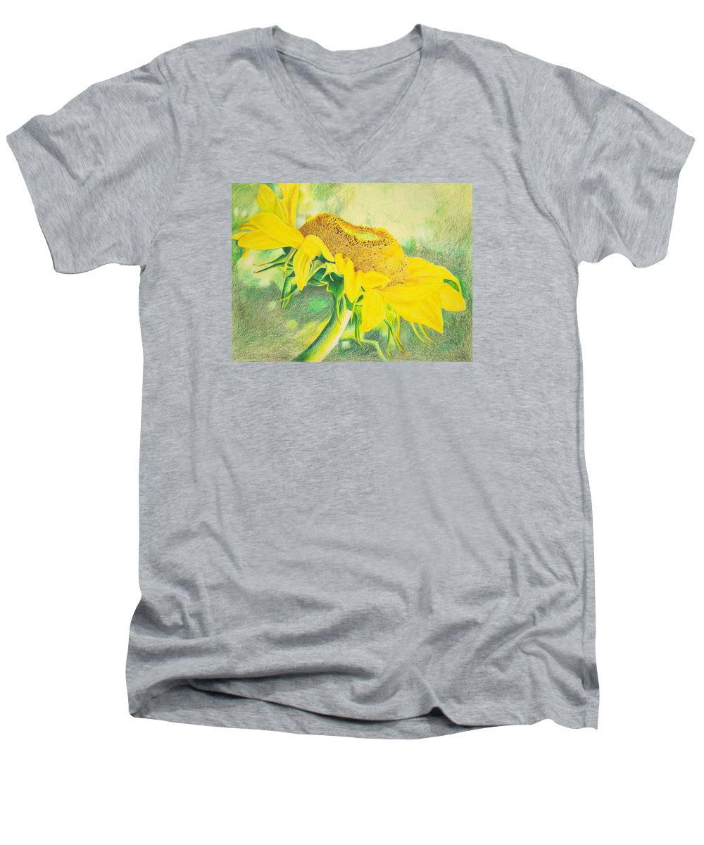 Sunflower Art Print Men's V-Neck T-Shirt featuring the mixed media Sunflower Print Art For Sale Colored Pencil Floral by Diane Jorstad