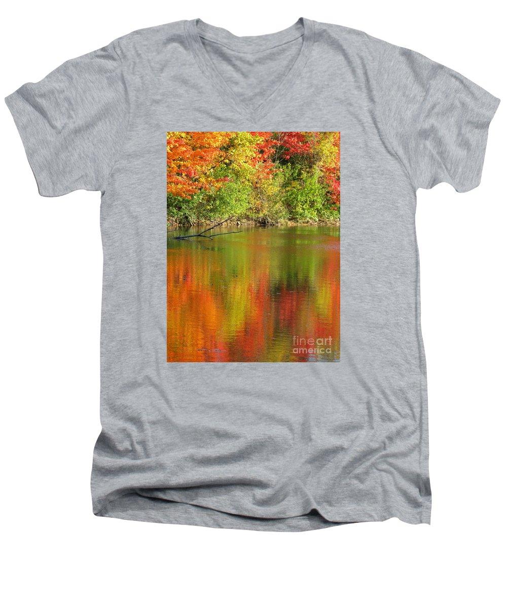 Autumn Men's V-Neck T-Shirt featuring the photograph Autumn Iridescence by Ann Horn