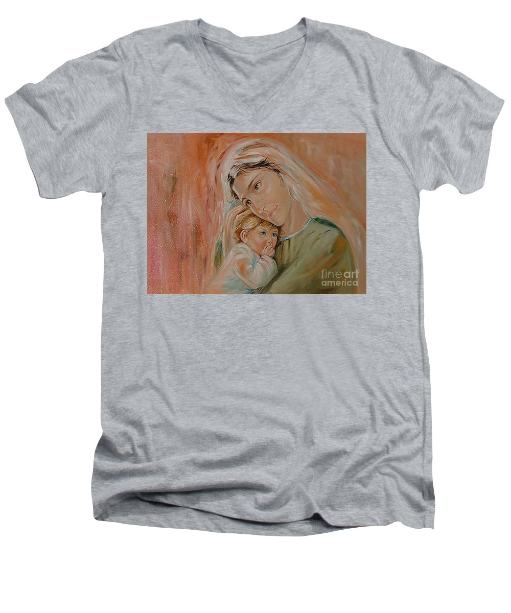 Classic Art Men's V-Neck T-Shirt featuring the painting Ave Maria by Silvana Abel