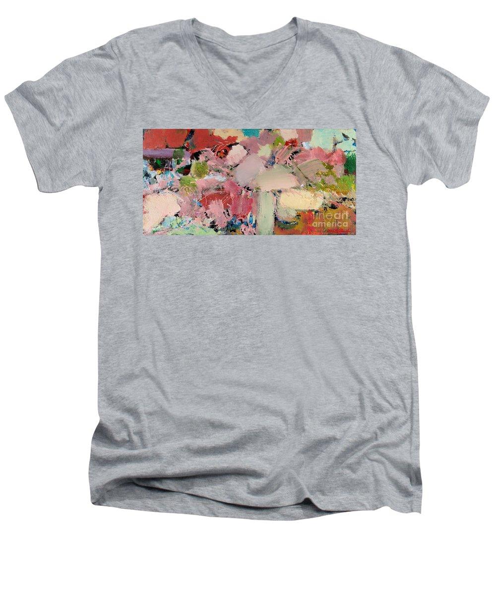 Landscape Men's V-Neck T-Shirt featuring the painting Azaleas by Allan P Friedlander