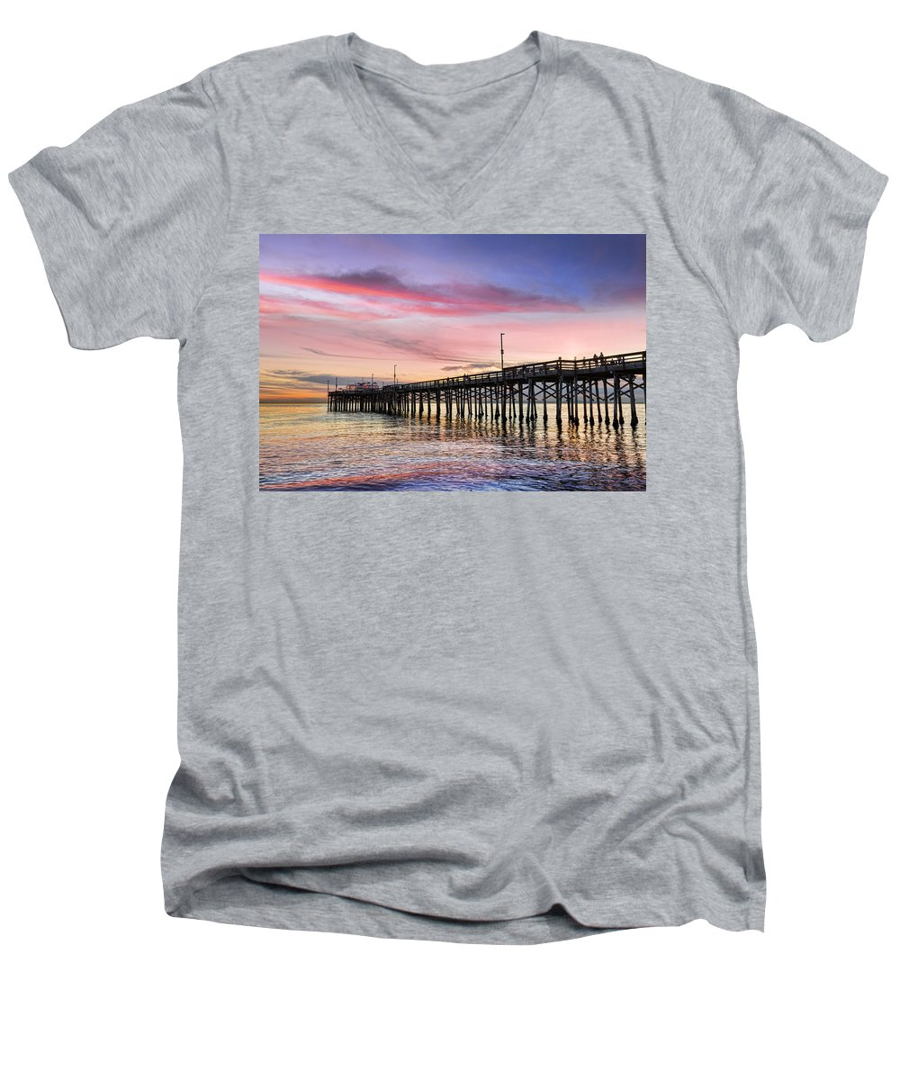 Balboa Men's V-Neck T-Shirt featuring the photograph Balboa Pier Sunset by Kelley King