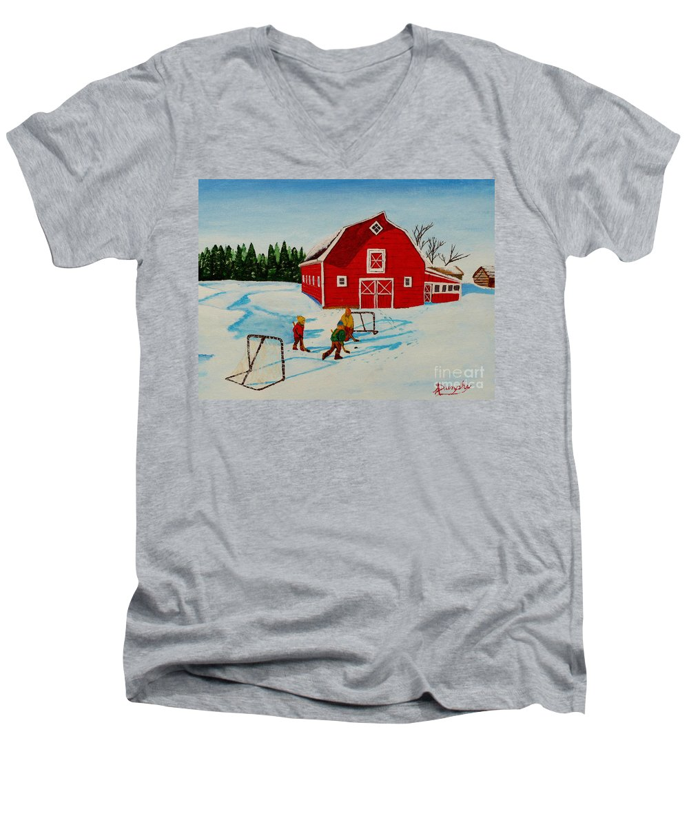 Hockey Men's V-Neck T-Shirt featuring the painting Barn Yard Hockey by Anthony Dunphy