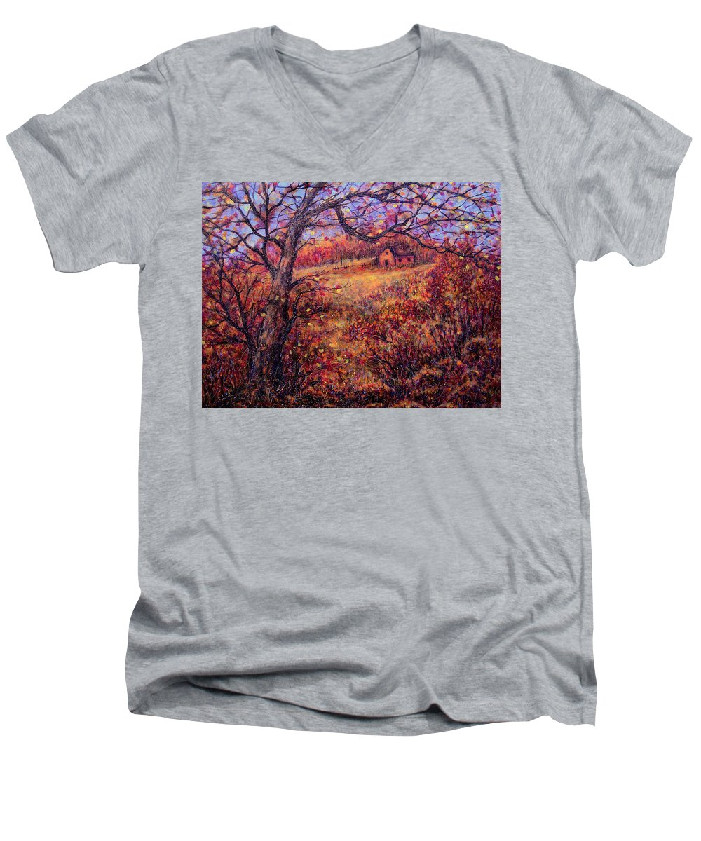 Autumn Men's V-Neck T-Shirt featuring the painting Beautiful Autumn by Natalie Holland