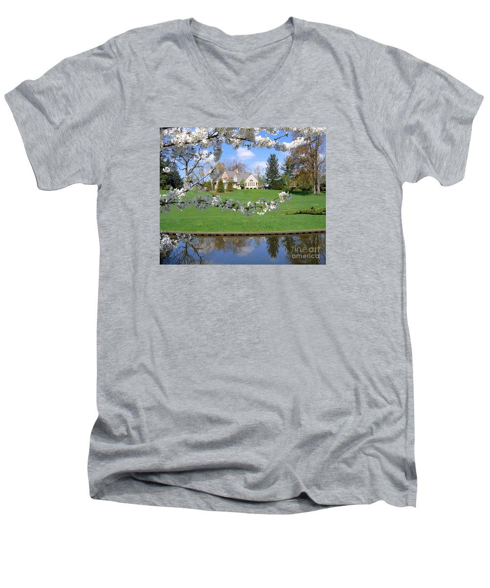 Spring Men's V-Neck T-Shirt featuring the photograph Blossom-framed House by Ann Horn