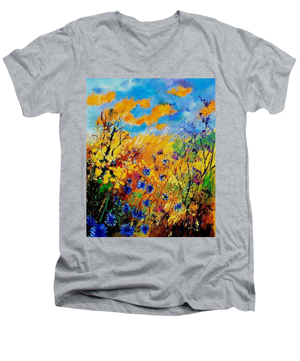 Poppies Men's V-Neck T-Shirt featuring the painting Blue Cornflowers 450408 by Pol Ledent