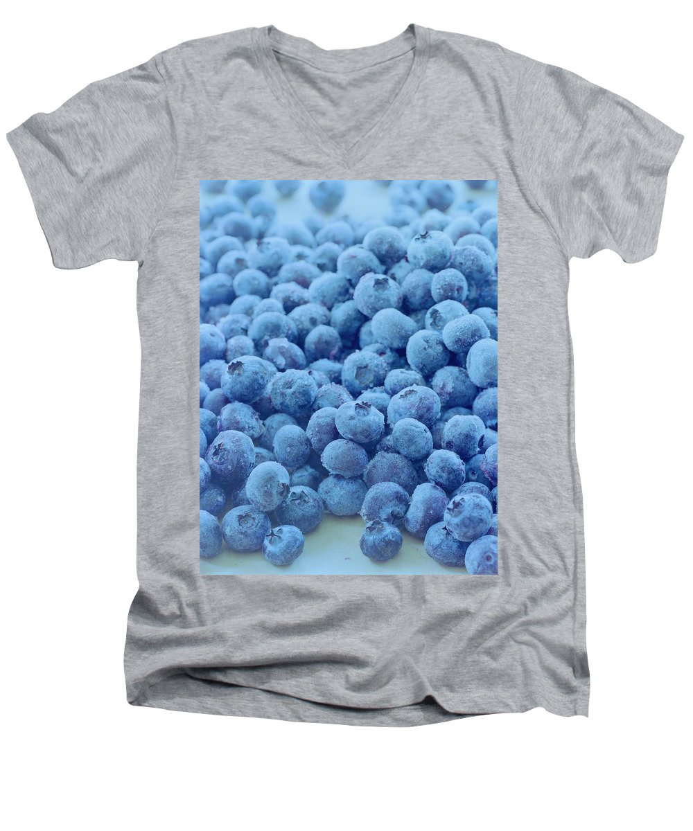 Berries Men's V-Neck T-Shirt featuring the photograph Blueberries by Romulo Yanes