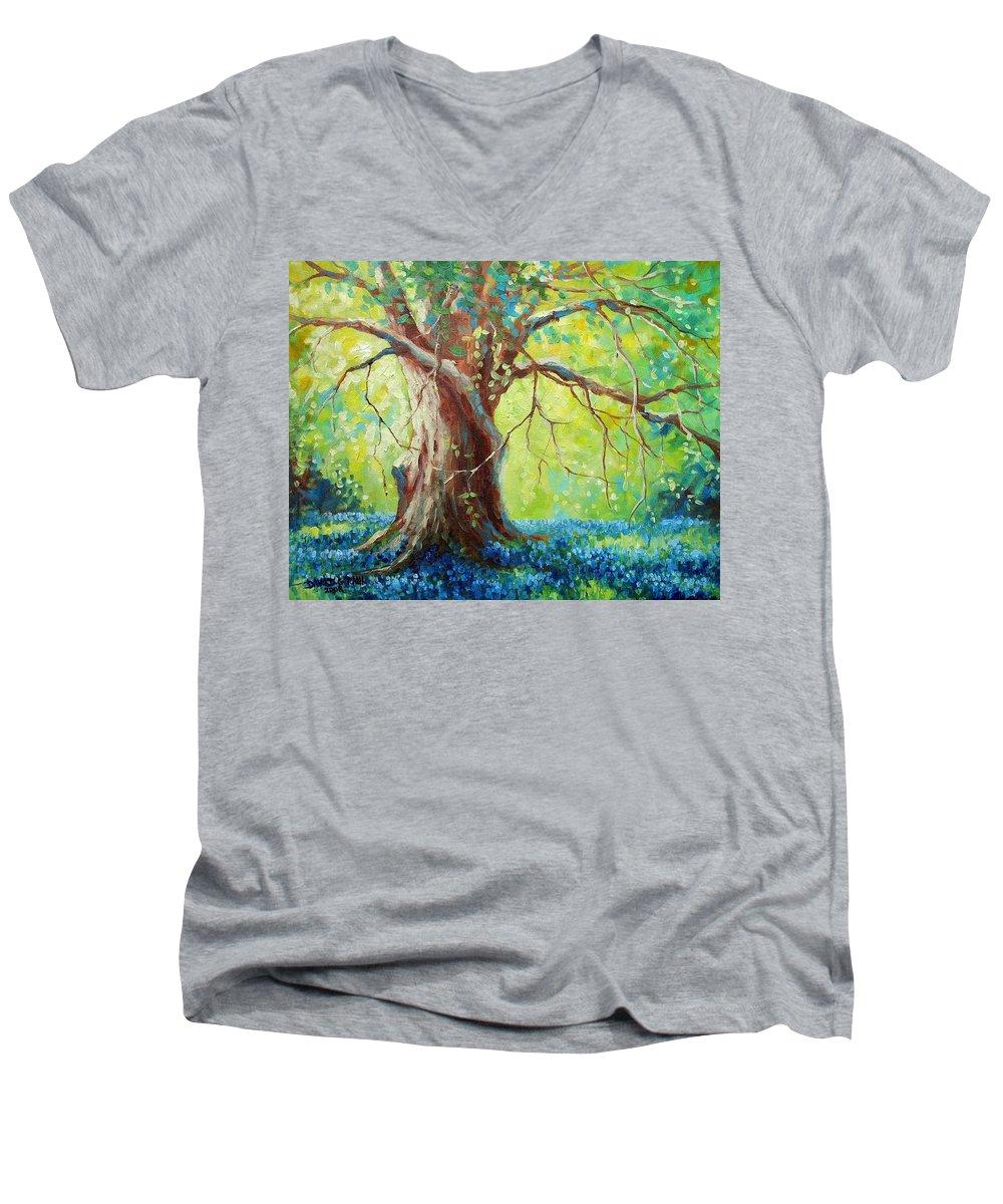 Bluebonnets Men's V-Neck T-Shirt featuring the painting Bluebonnets Under The Oak by David G Paul