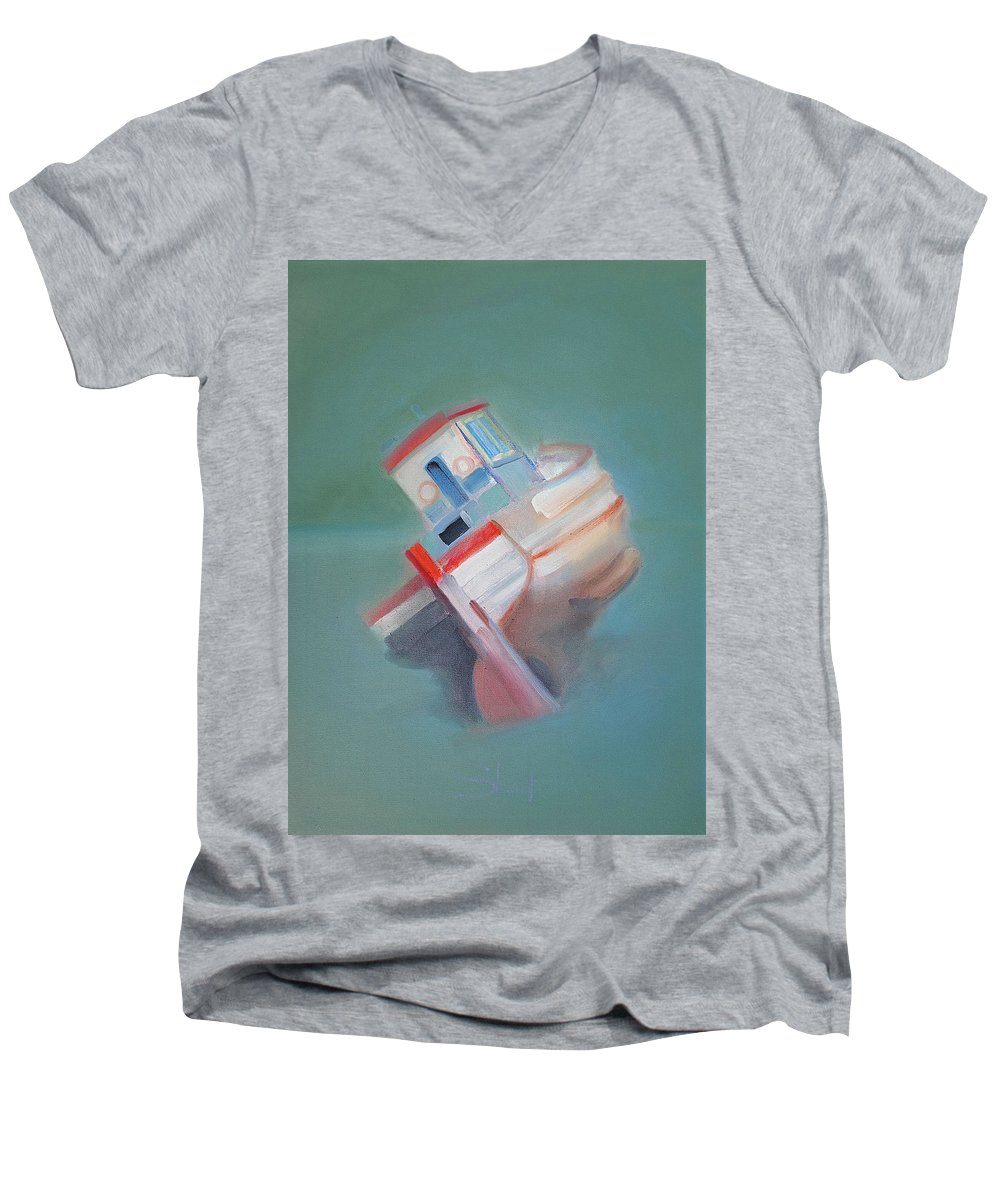 Fishing Boat Men's V-Neck T-Shirt featuring the painting Boat Retired Tavira by Charles Stuart
