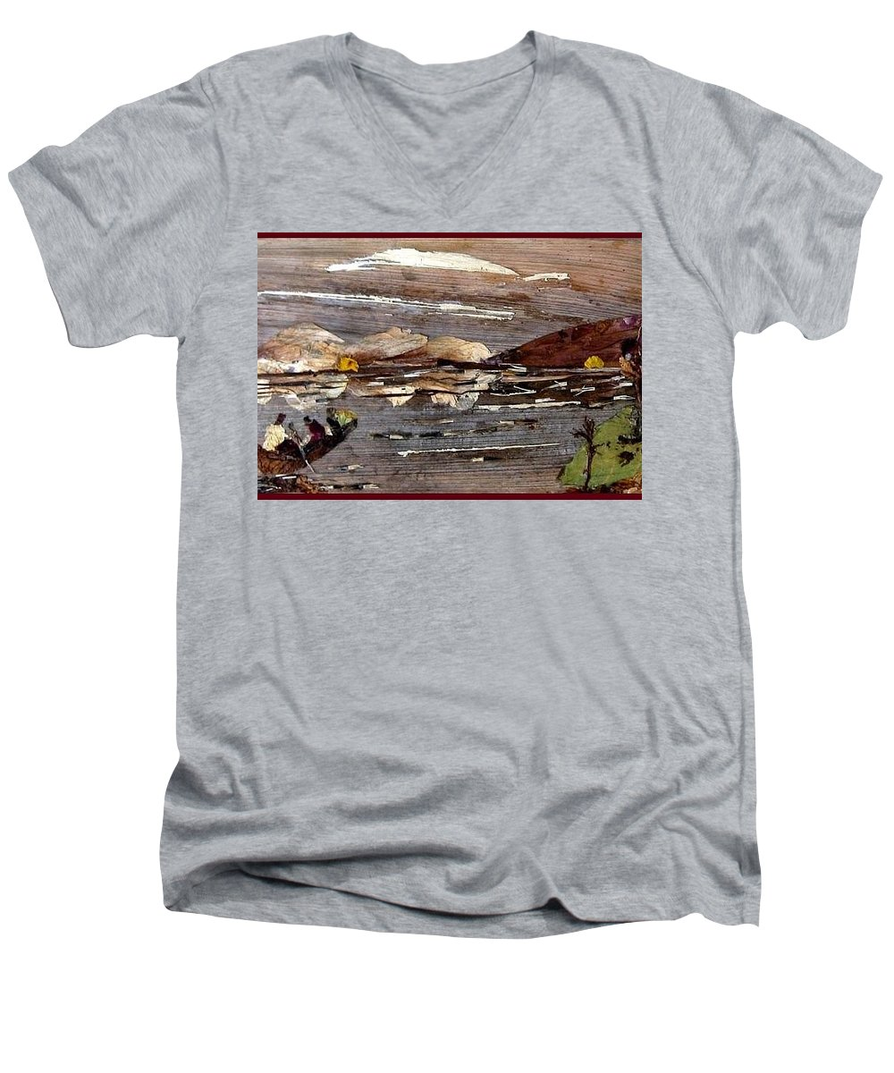 Boating Scene Men's V-Neck T-Shirt featuring the mixed media Boating In River by Basant Soni