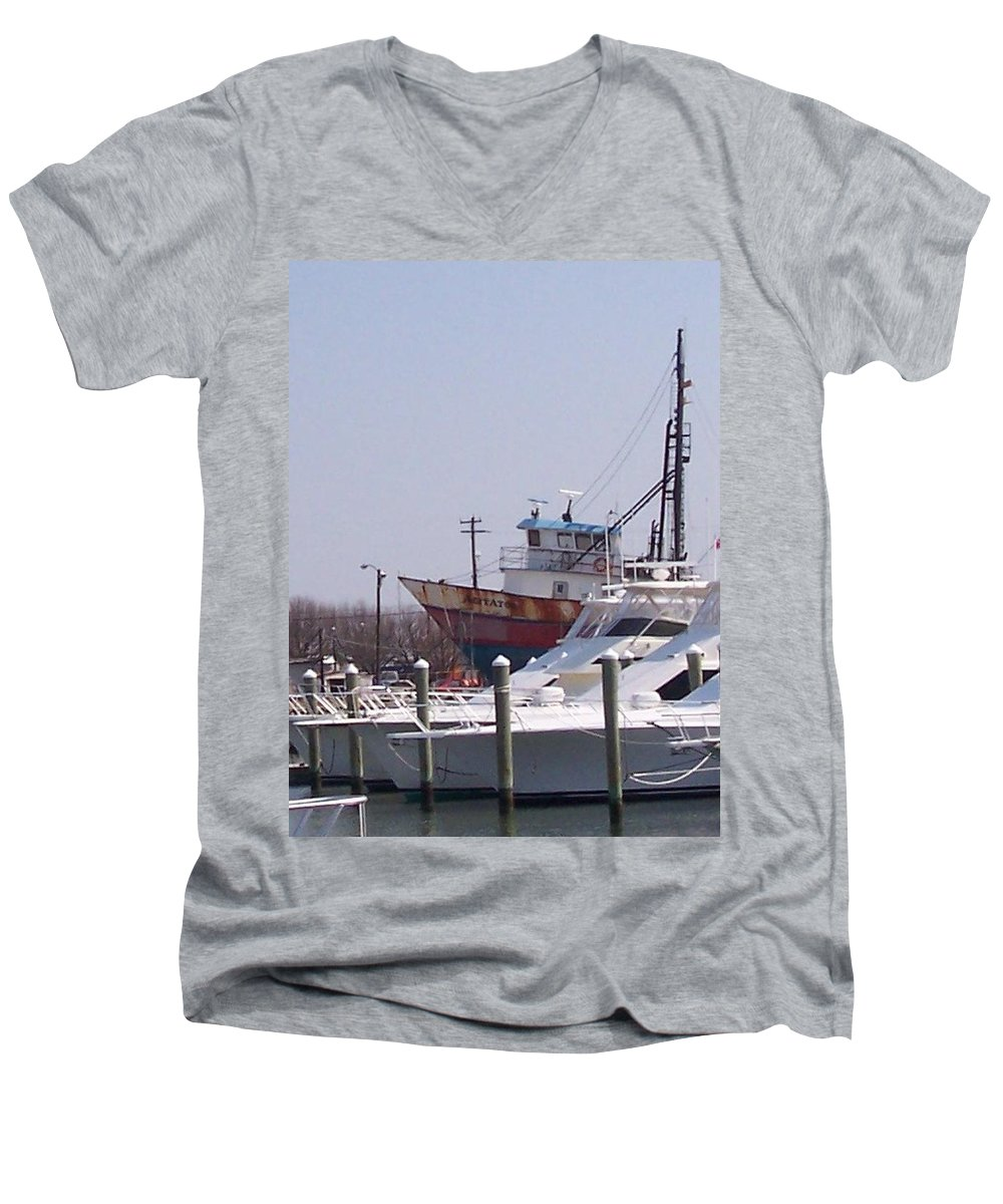 Boat Men's V-Neck T-Shirt featuring the photograph Boats Docked by Pharris Art