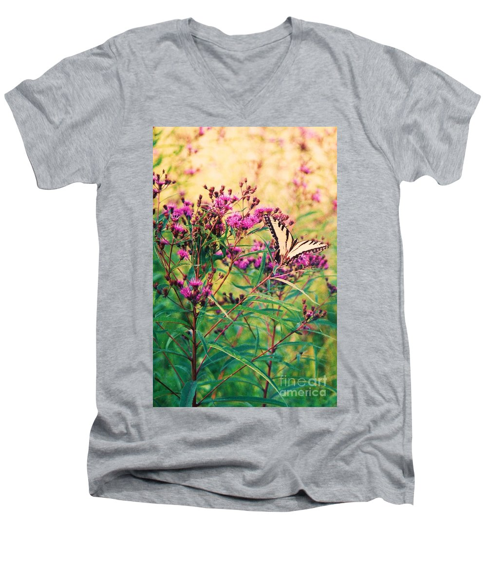 Floral Men's V-Neck T-Shirt featuring the painting Butterfly Wildflower by Eric Schiabor