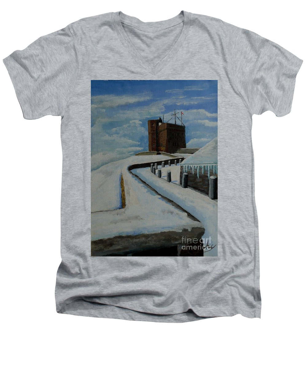 Landscape Men's V-Neck T-Shirt featuring the painting Cabot Tower Newfoundland by Anthony Dunphy