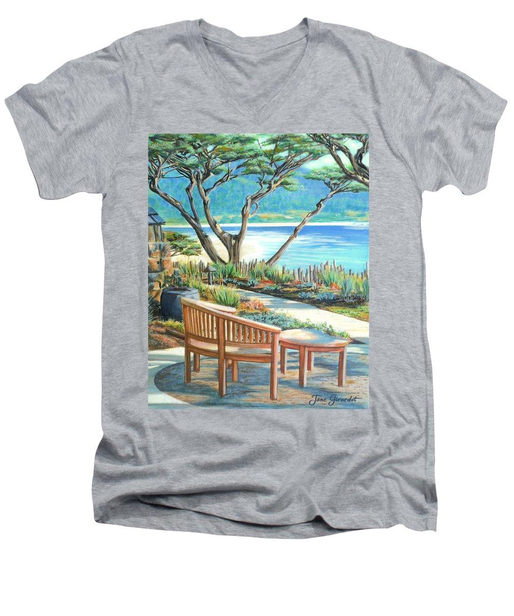 Carmel Men's V-Neck T-Shirt featuring the painting Carmel Lagoon View by Jane Girardot