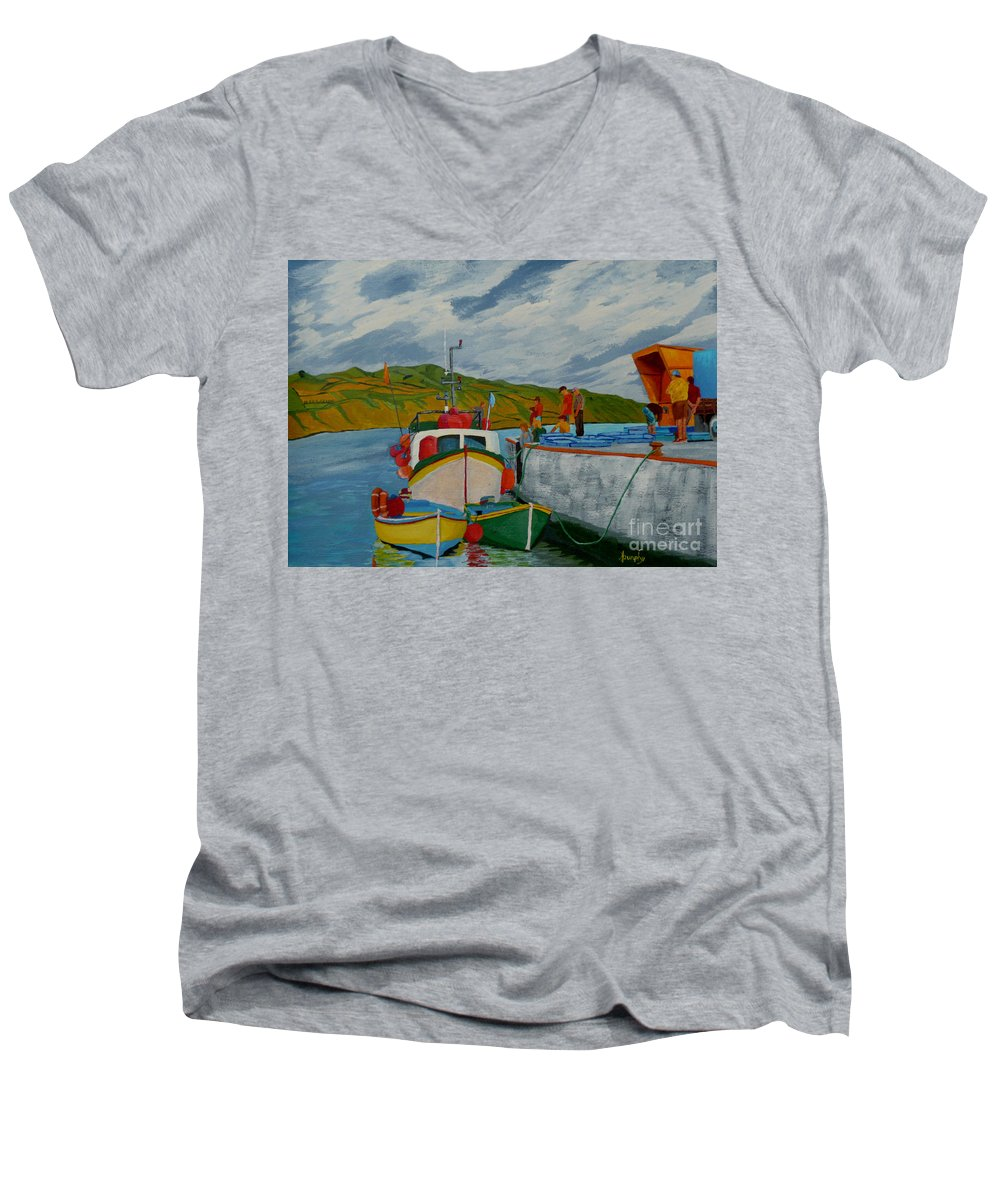 Boats Men's V-Neck T-Shirt featuring the painting Catch Of The Day by Anthony Dunphy