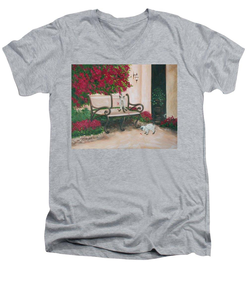 Cat Fine Art Men's V-Neck T-Shirt featuring the painting Cat Art Print On Canvas Oil Painting Hire Commission Pet Portrait Artist by Diane Jorstad
