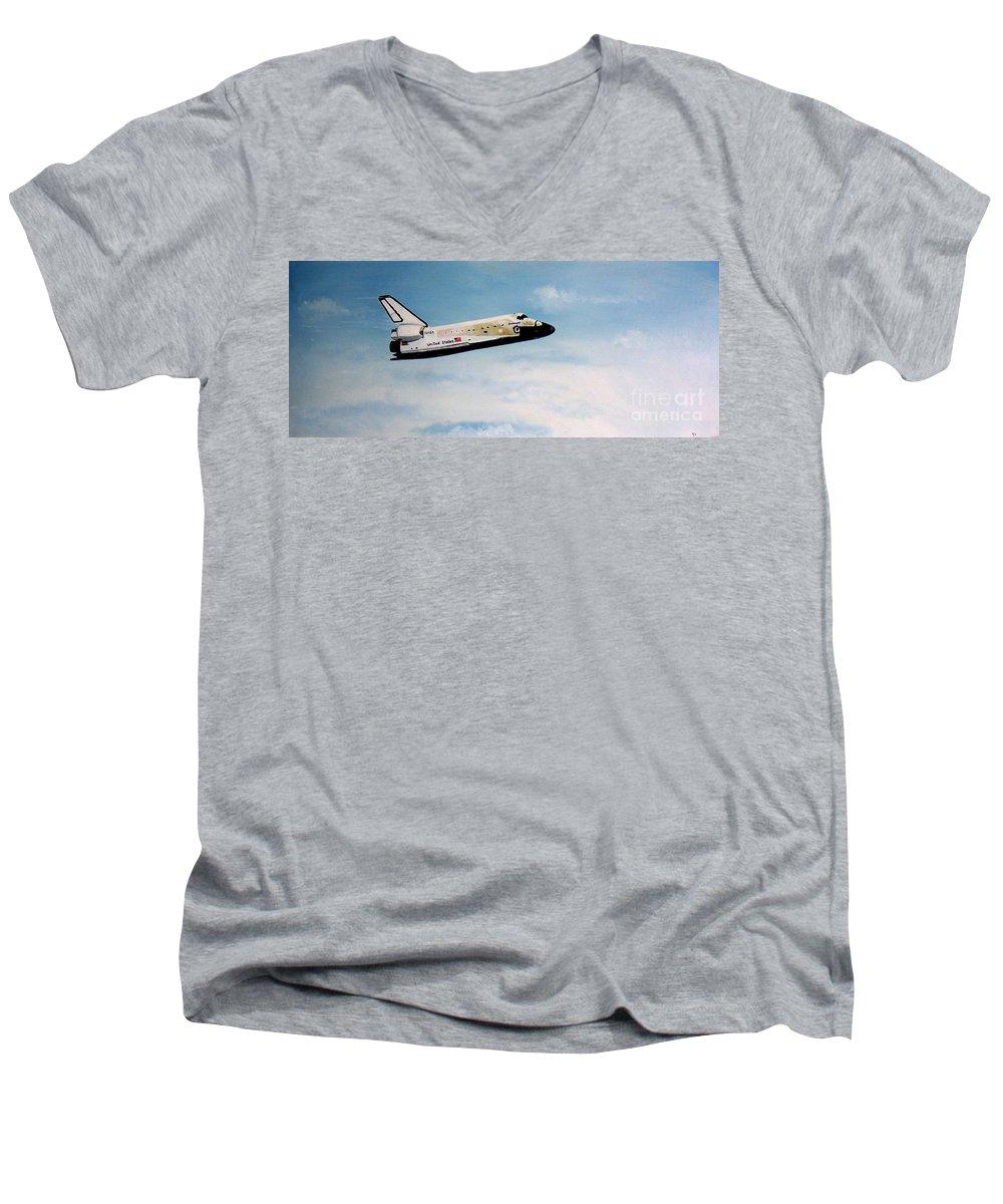 Shuttle Men's V-Neck T-Shirt featuring the painting Challenger by Murphy Elliott