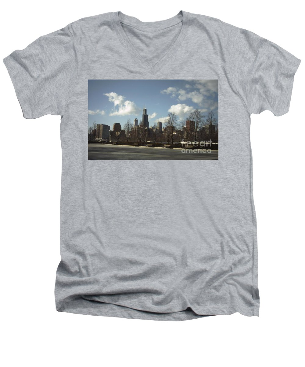 Chicago Skyline Men's V-Neck T-Shirt featuring the photograph Chicago Skyline Postcard by Minding My Visions by Adri and Ray