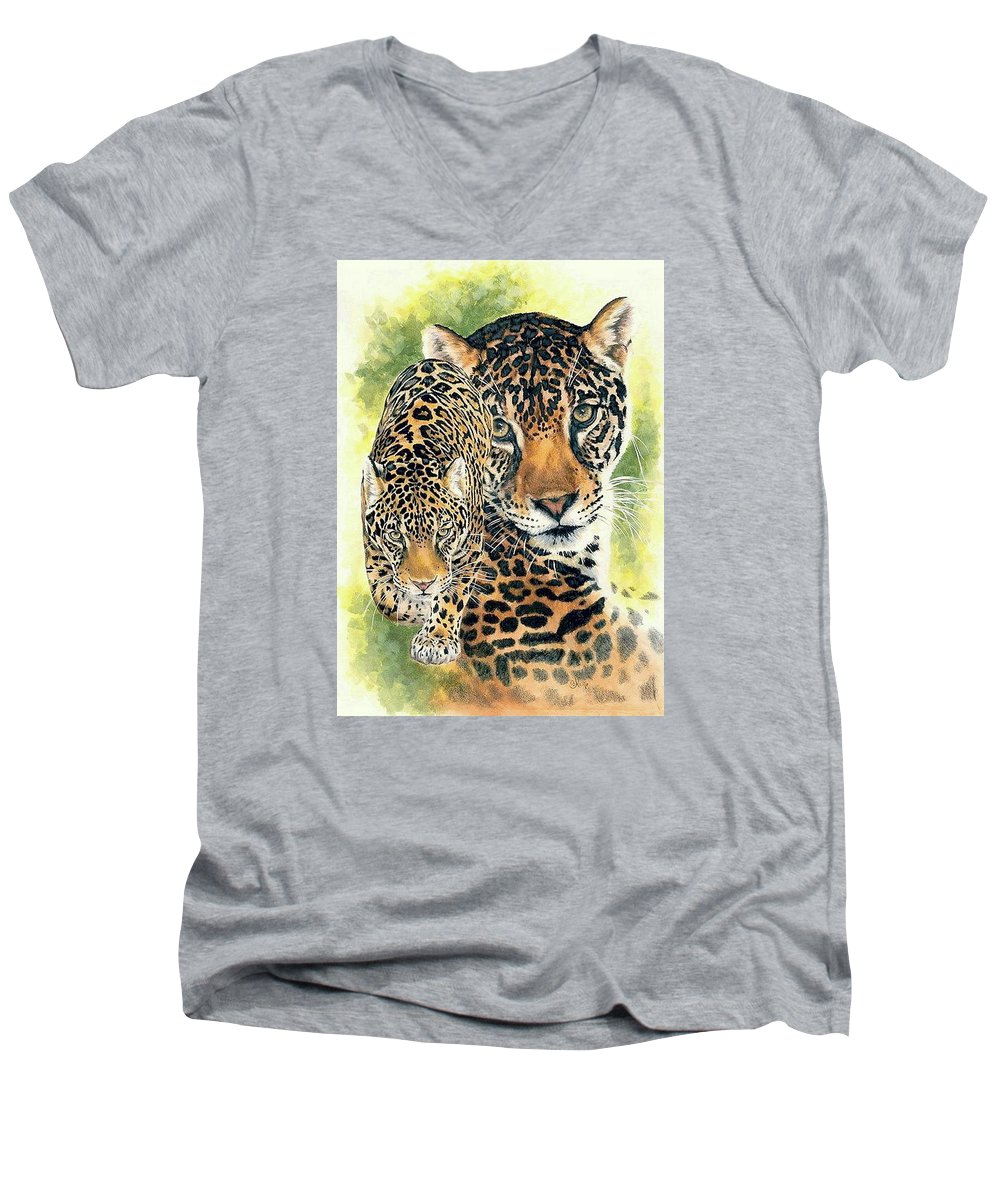 Jaguar Men's V-Neck T-Shirt featuring the mixed media Compelling by Barbara Keith