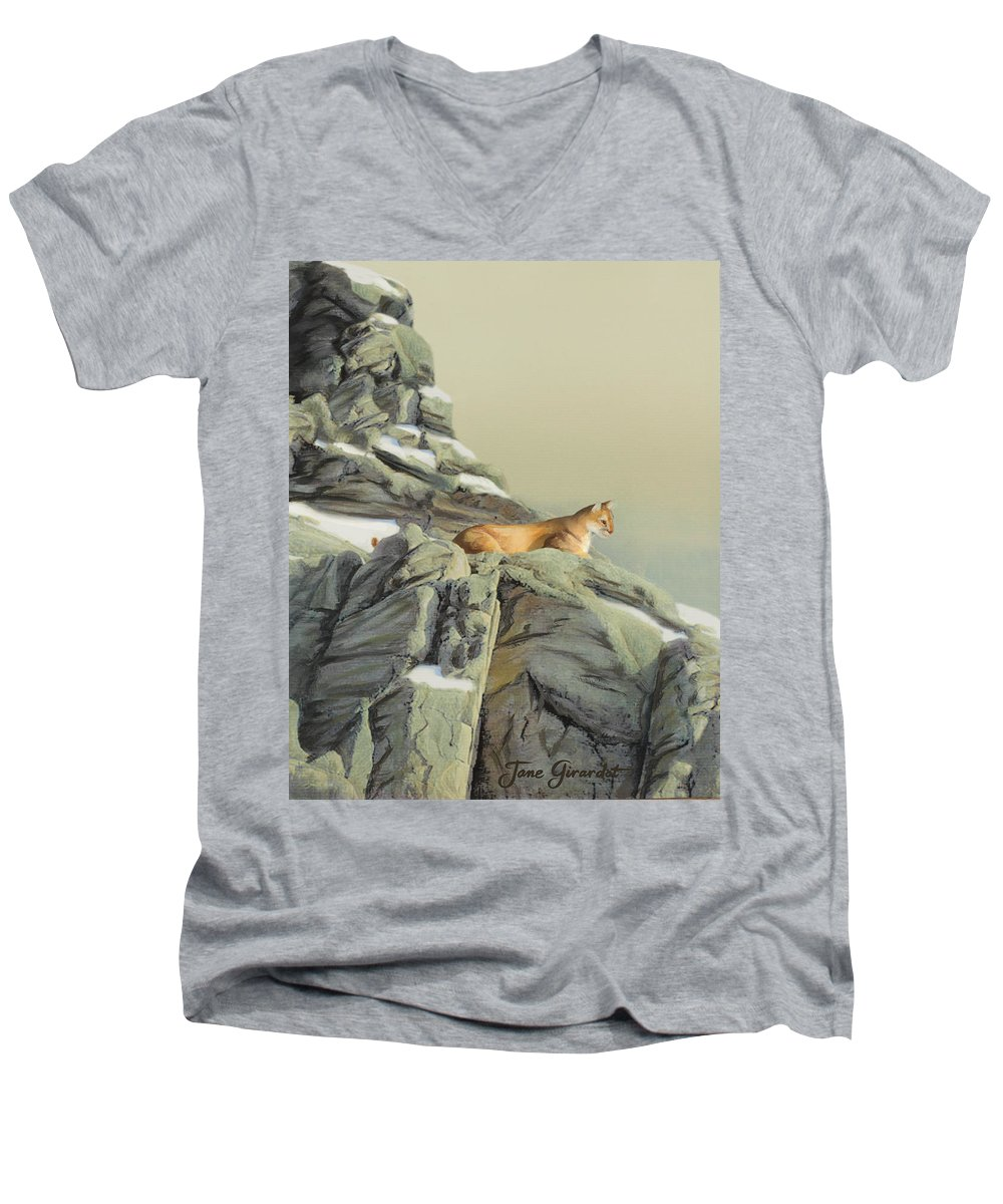 Cougar Men's V-Neck T-Shirt featuring the painting Cougar Perch by Jane Girardot
