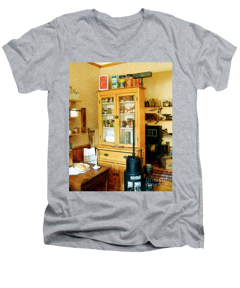 Antiques Men's V-Neck T-Shirt featuring the painting Country Kitchen Sunshine IIi by RC deWinter
