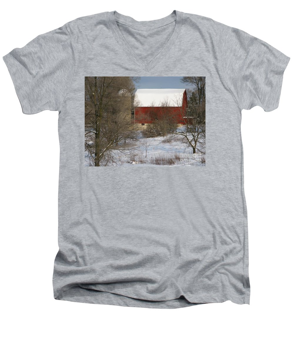 Winter Men's V-Neck T-Shirt featuring the photograph Country Winter by Ann Horn
