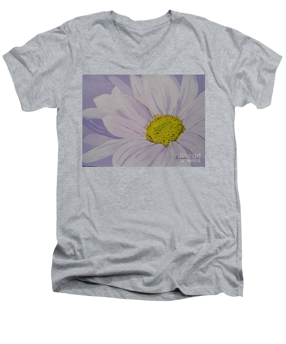 Daisy Men's V-Neck T-Shirt featuring the painting Daisy by Anthony Dunphy