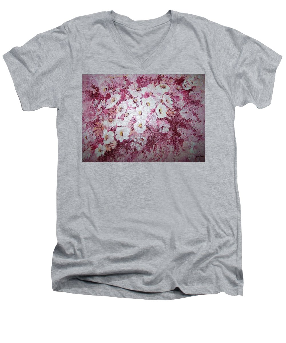 Men's V-Neck T-Shirt featuring the painting Daisy Blush by Karin Dawn Kelshall- Best