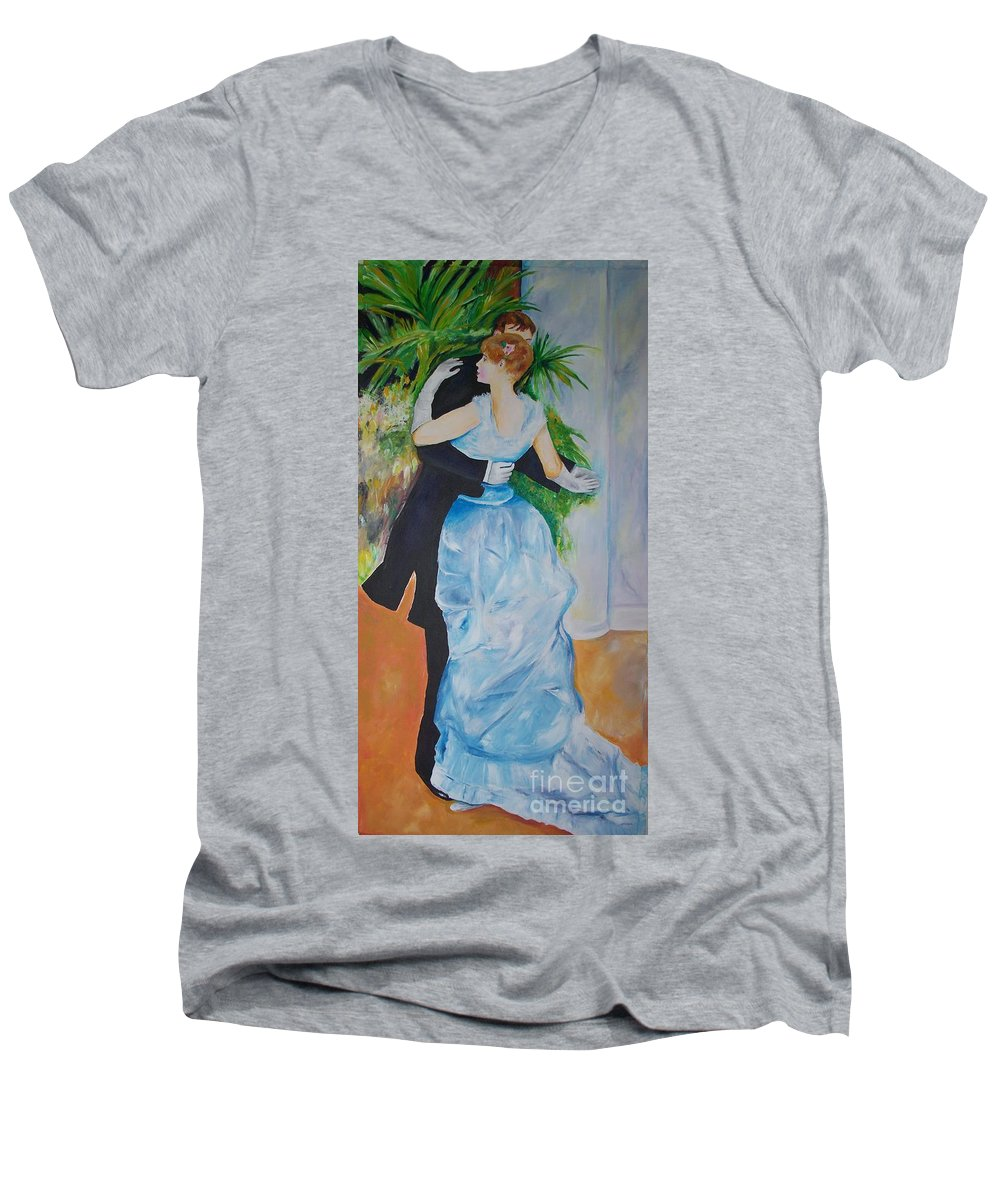 Lavender Men's V-Neck T-Shirt featuring the painting Dance In The City by Eric Schiabor