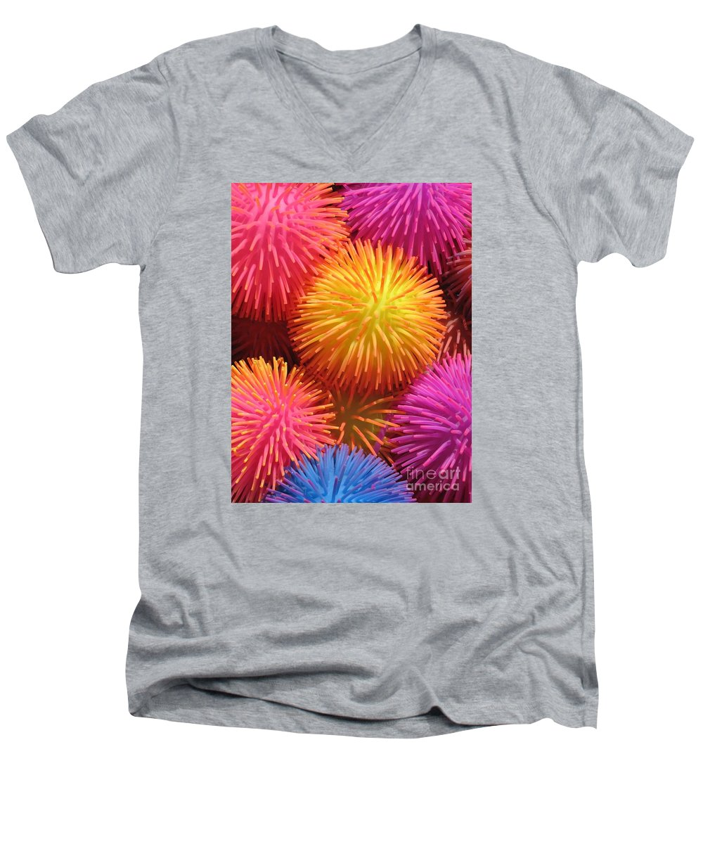 Abstract Men's V-Neck T-Shirt featuring the photograph Dazzlers by Ann Horn