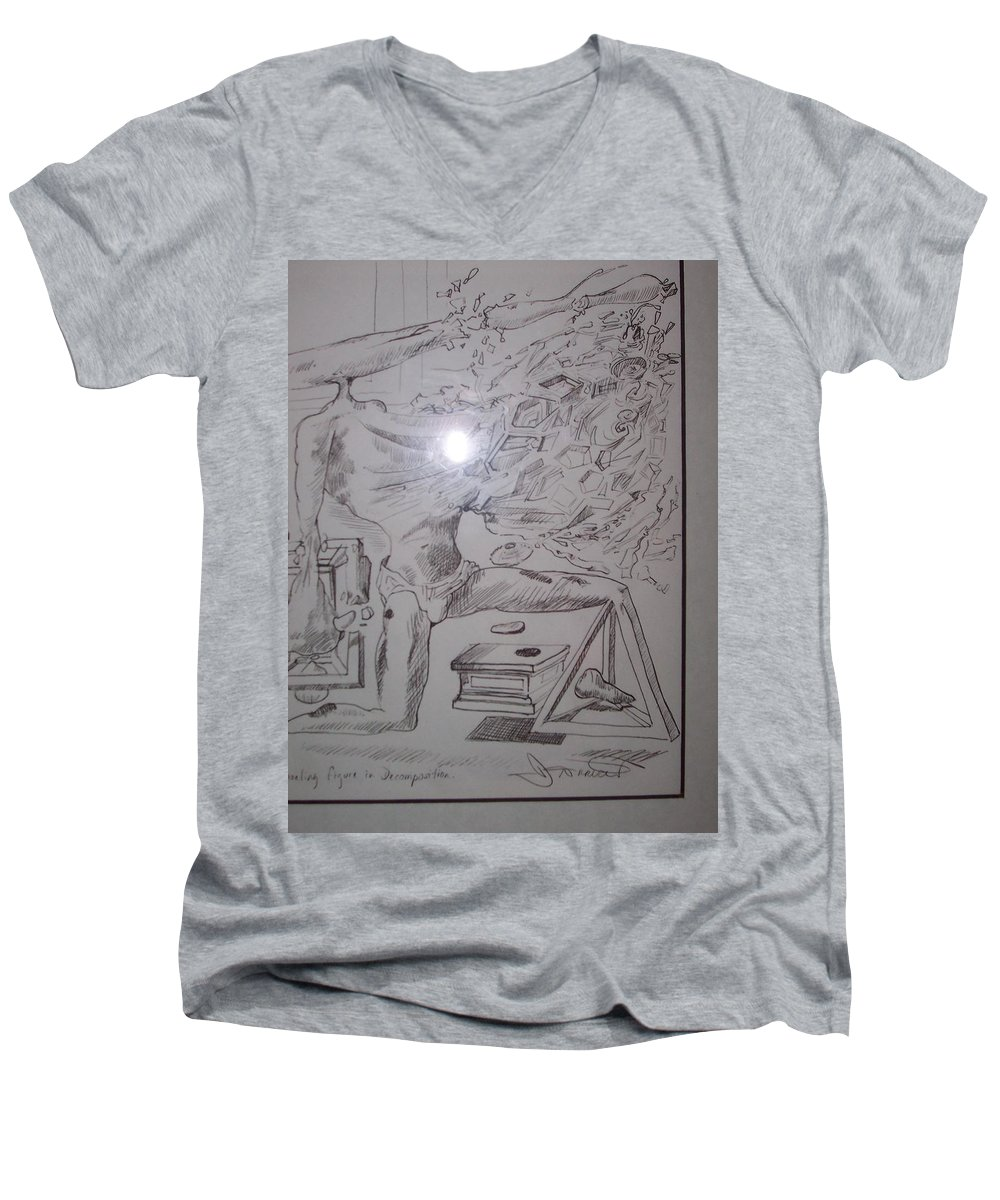 Men's V-Neck T-Shirt featuring the painting Decomposition Of Kneeling Man by Jude Darrien