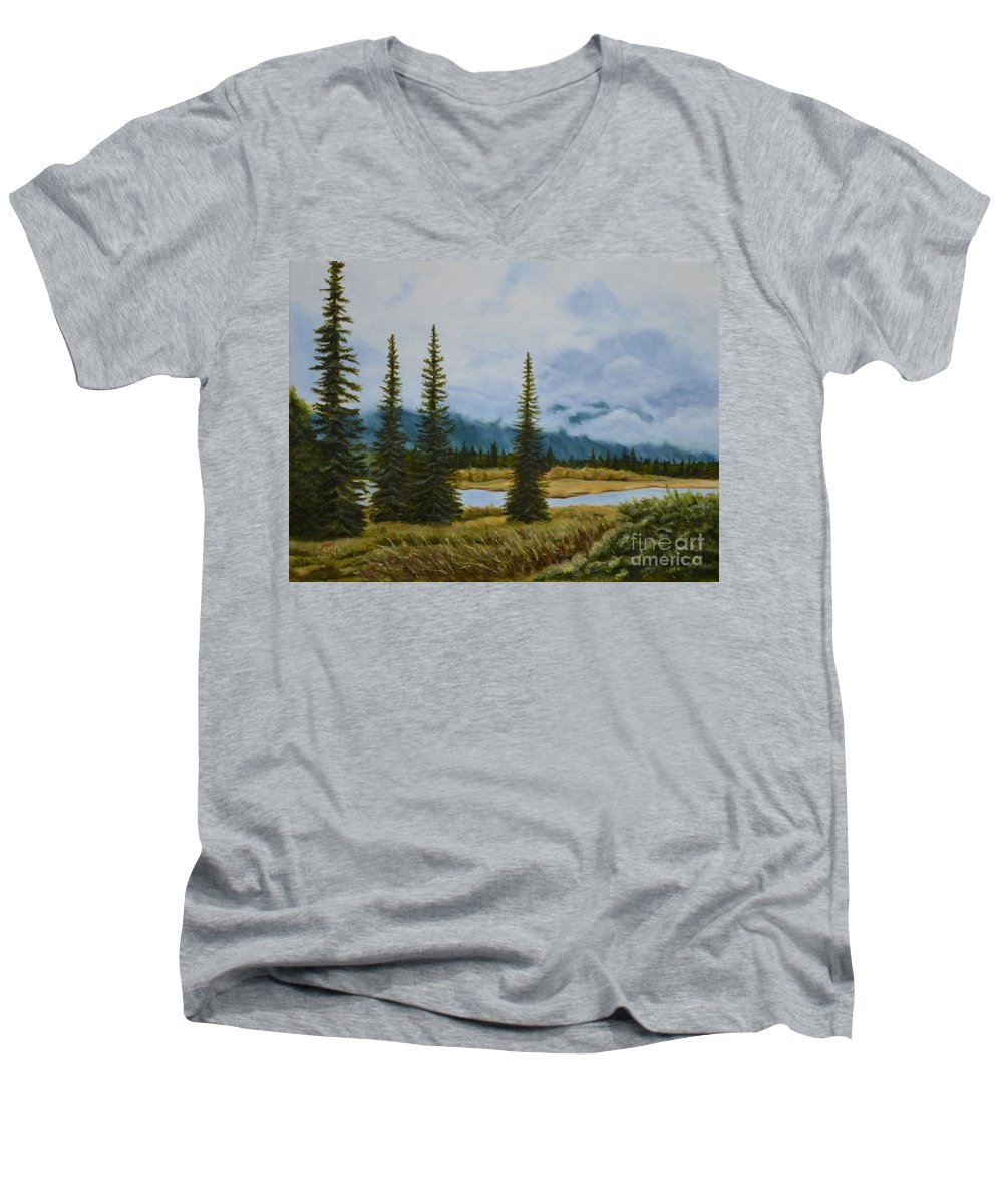 Usa Men's V-Neck T-Shirt featuring the painting Denali Morning by Mary Rogers