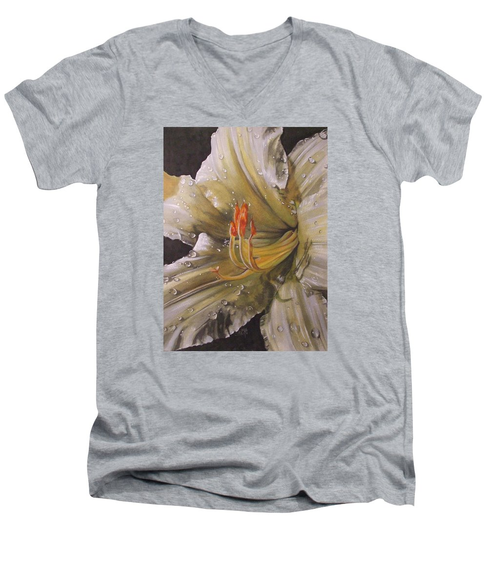 Daylily Men's V-Neck T-Shirt featuring the painting Diamonds by Barbara Keith