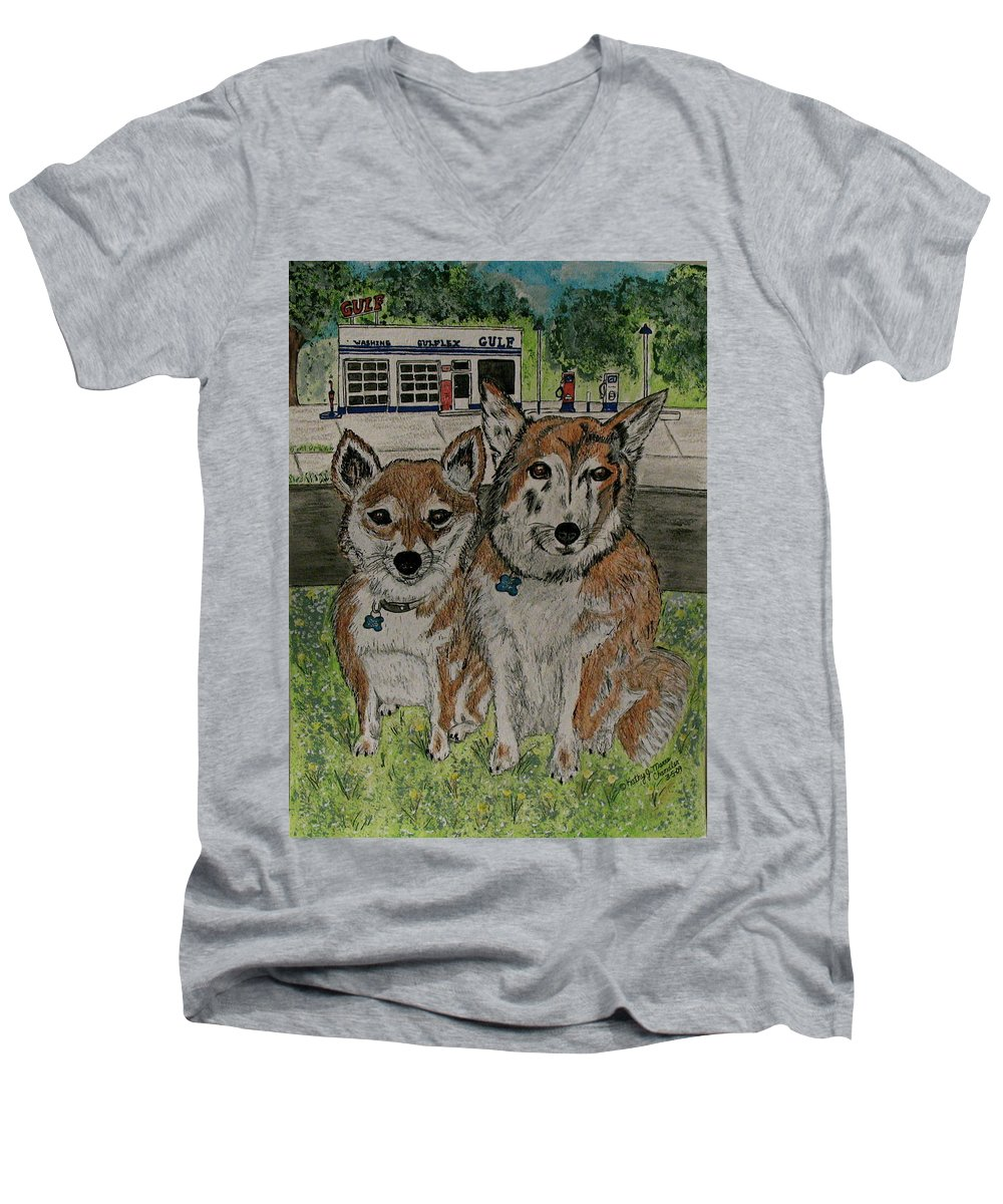 Dogs Men's V-Neck T-Shirt featuring the painting Dogs In Front Of The Gulf Station by Kathy Marrs Chandler