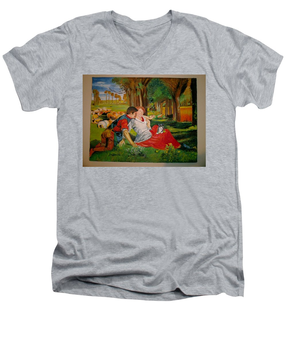 Men's V-Neck T-Shirt featuring the painting double portrait of freinds Gunner and Jessie by Jude Darrien
