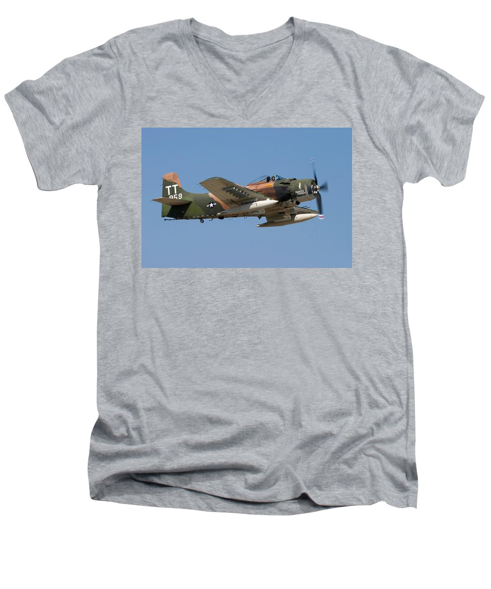 3scape Men's V-Neck T-Shirt featuring the photograph Douglas Ad-4 Skyraider by Adam Romanowicz