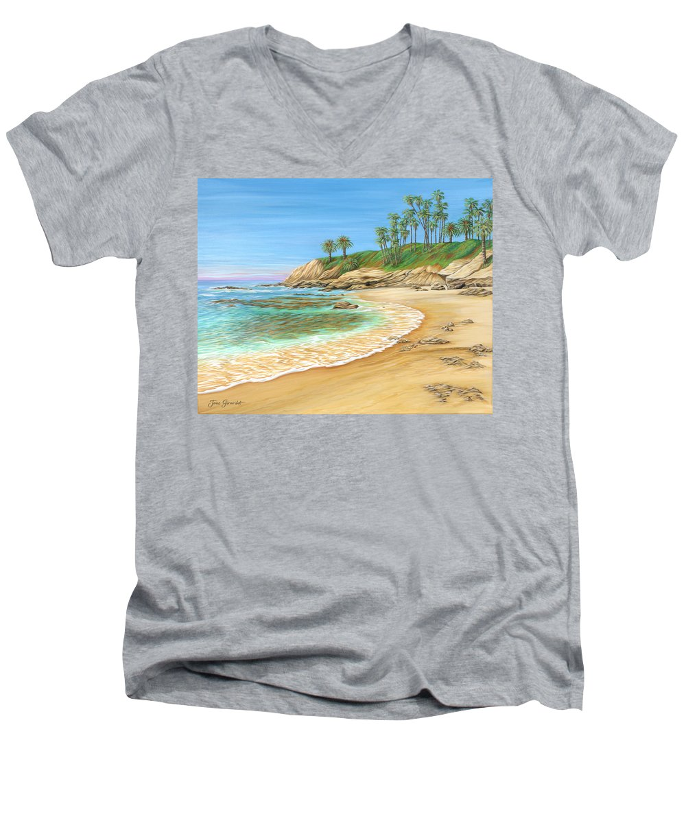 Beach Men's V-Neck T-Shirt featuring the painting Early Morning Laguna by Jane Girardot