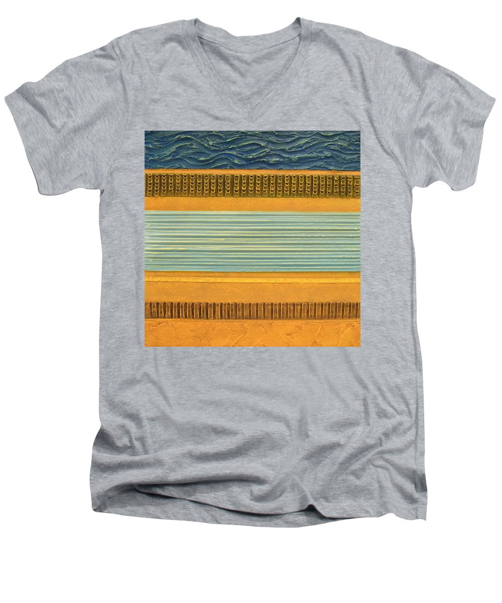 Abstract Men's V-Neck T-Shirt featuring the painting Earth Layers Abstract Ll by Michelle Calkins