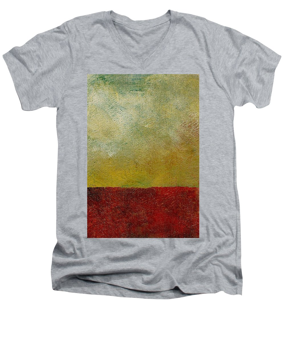 Abstract Landscape Men's V-Neck T-Shirt featuring the painting Earth Study One by Michelle Calkins