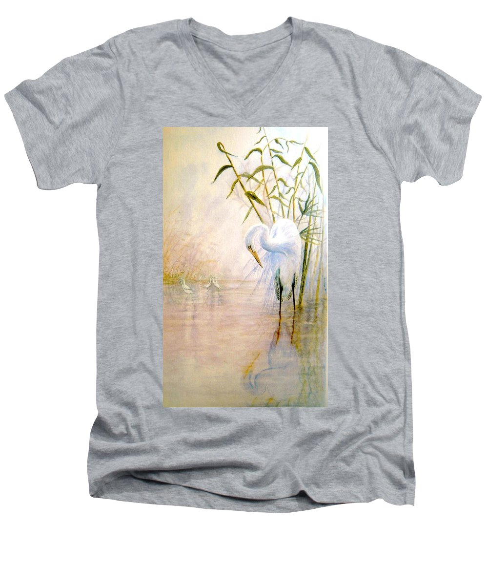Eret; Bird; Low Country Men's V-Neck T-Shirt featuring the painting Egret by Ben Kiger