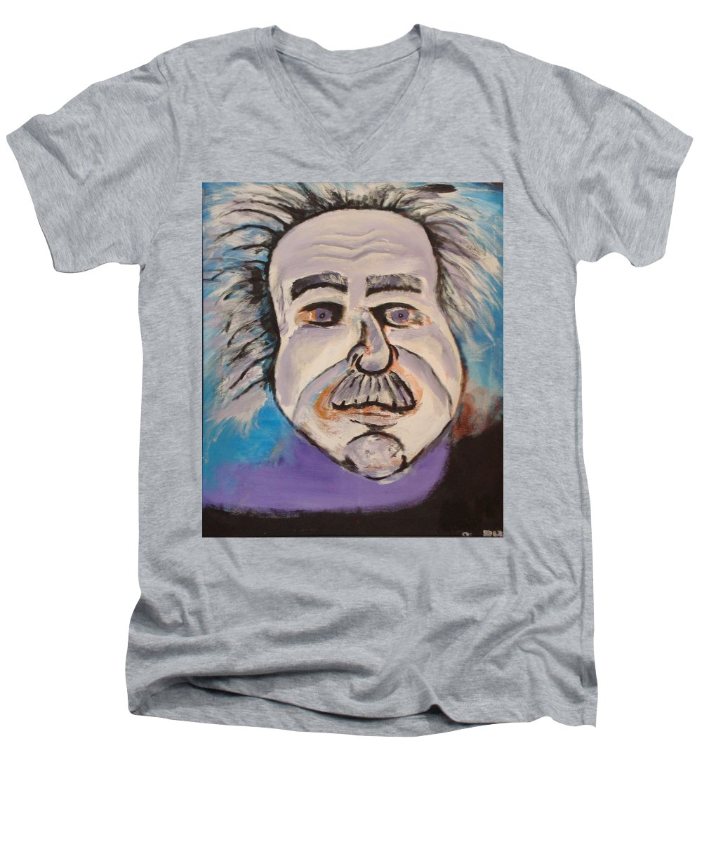 Rick Huotari Men's V-Neck T-Shirt featuring the painting Einstein by Rick Huotari