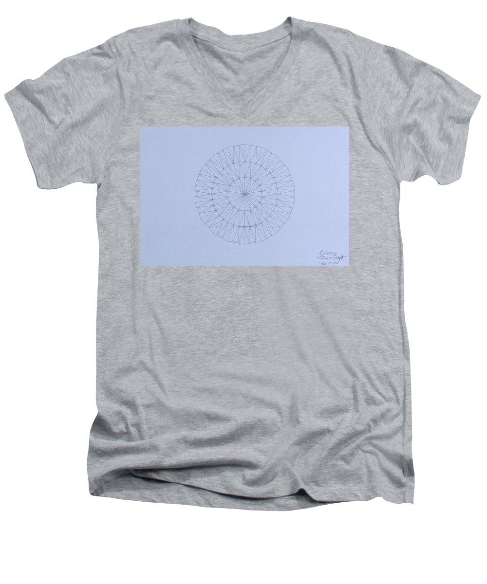 Jason Padgett Men's V-Neck T-Shirt featuring the drawing Energy Wave 20 Degree Frequency by Jason Padgett