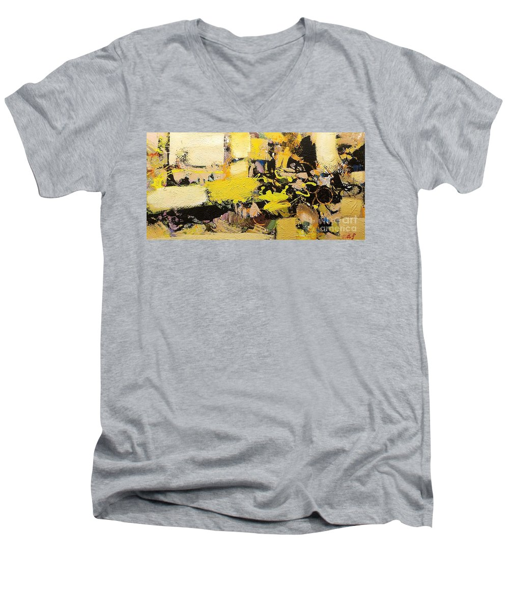 Landscape Men's V-Neck T-Shirt featuring the painting Euclid by Allan P Friedlander