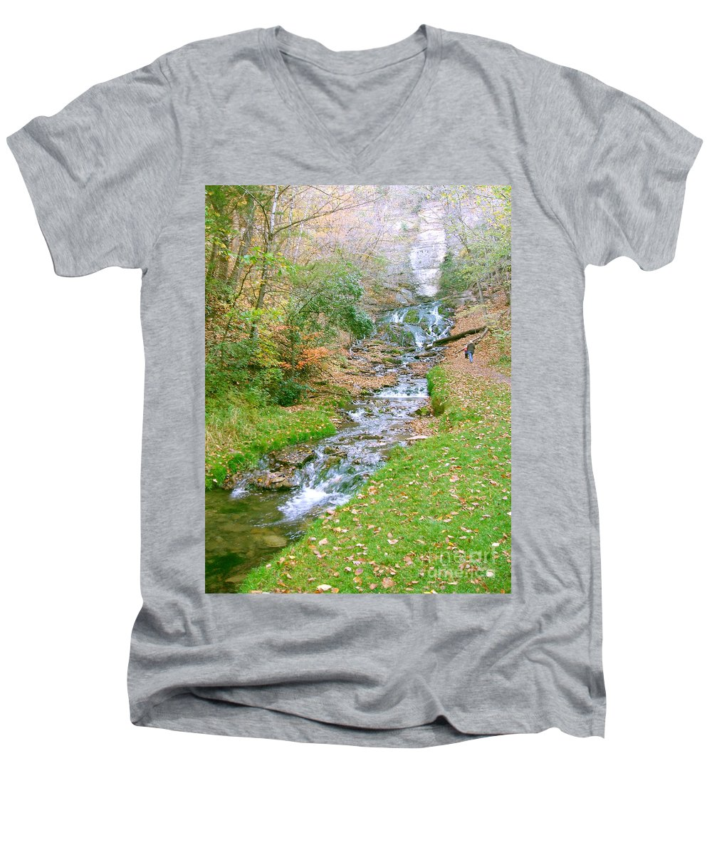 Springs Men's V-Neck T-Shirt featuring the photograph Fall Springs by Minding My Visions by Adri and Ray