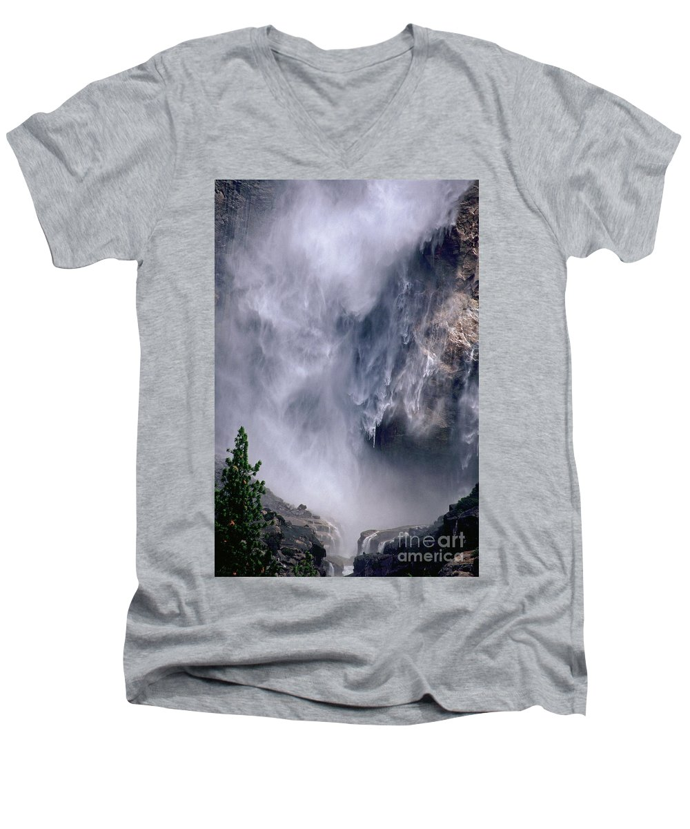 Waterfall Men's V-Neck T-Shirt featuring the photograph Falling Water by Kathy McClure
