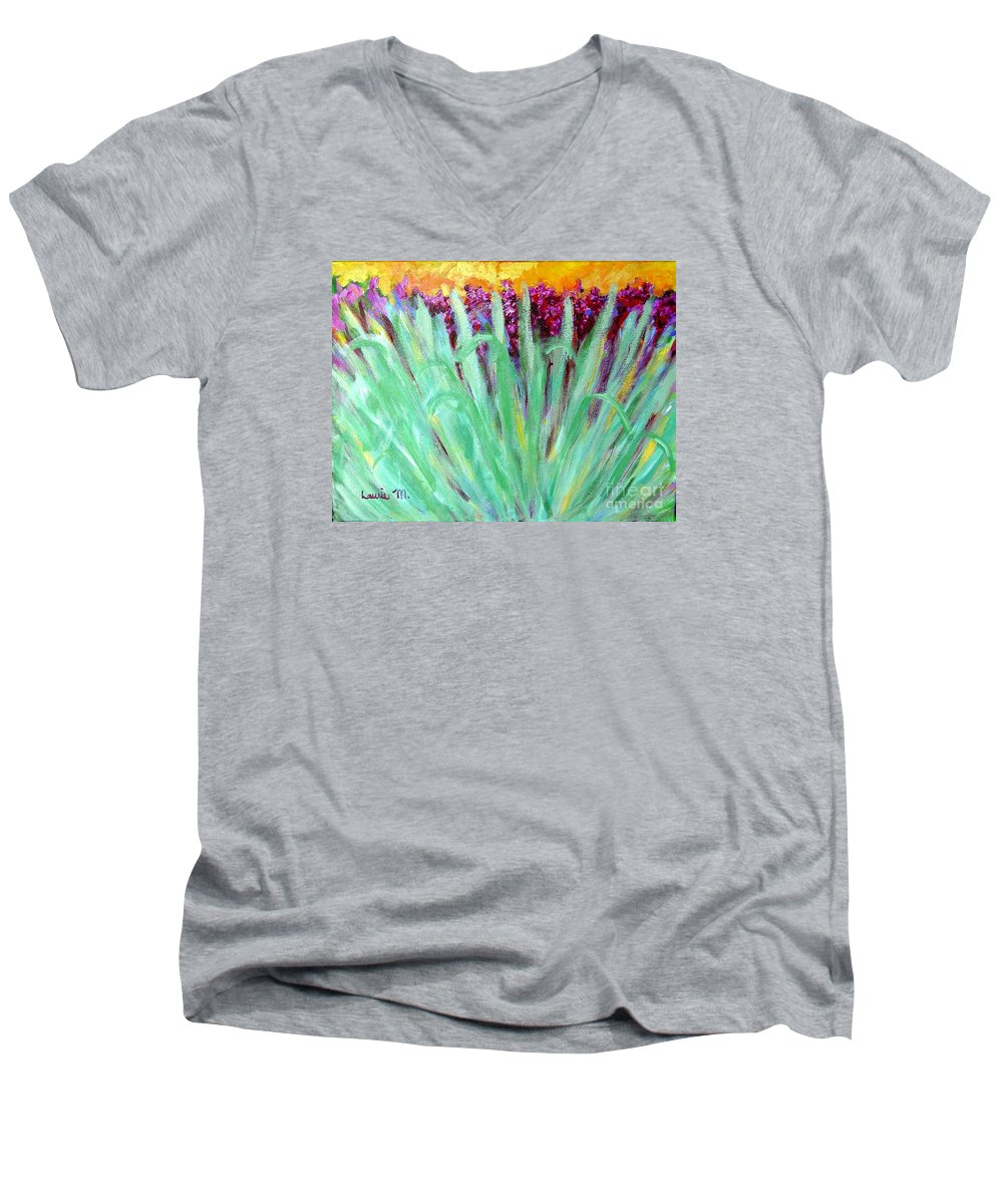 Abstract Men's V-Neck T-Shirt featuring the painting Festoon by Laurie Morgan