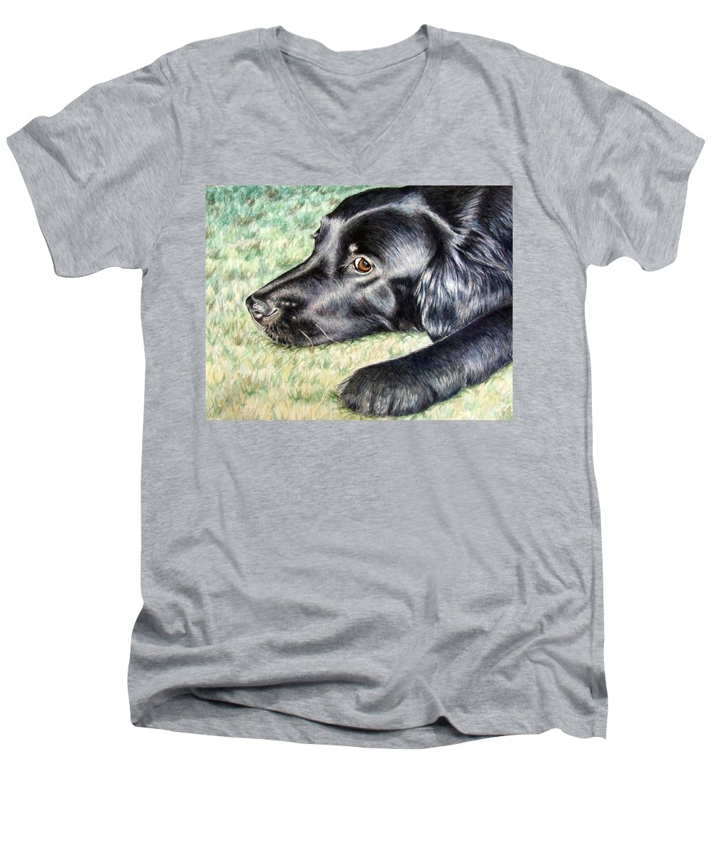 Dog Men's V-Neck T-Shirt featuring the painting Flat Coated Retriever by Nicole Zeug
