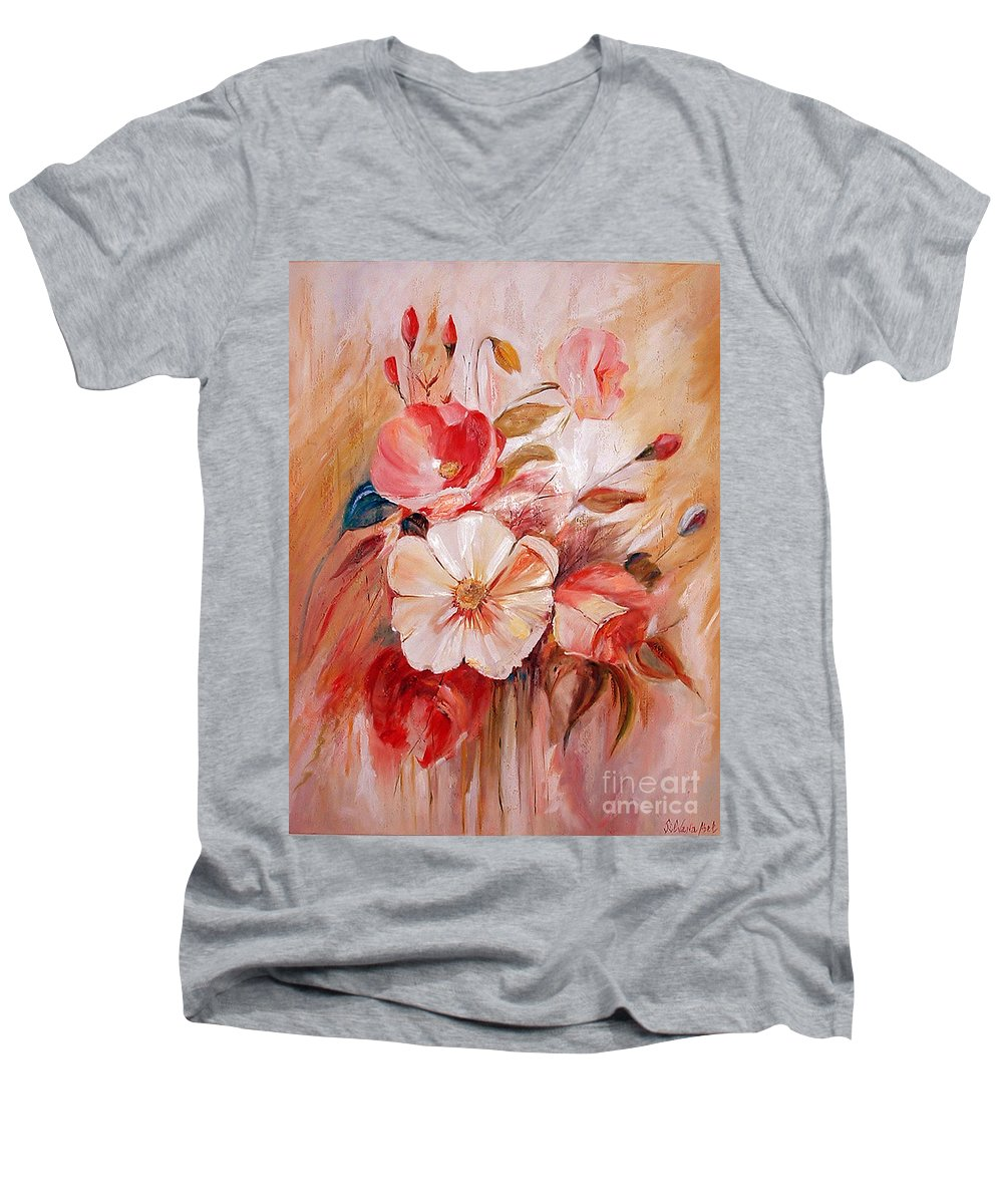 Modern Art Men's V-Neck T-Shirt featuring the painting Flowers I by Silvana Abel