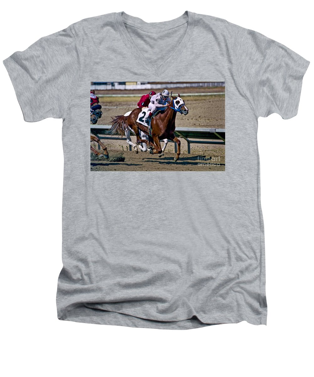 Racing Men's V-Neck T-Shirt featuring the photograph Flying Hooves by Kathy McClure