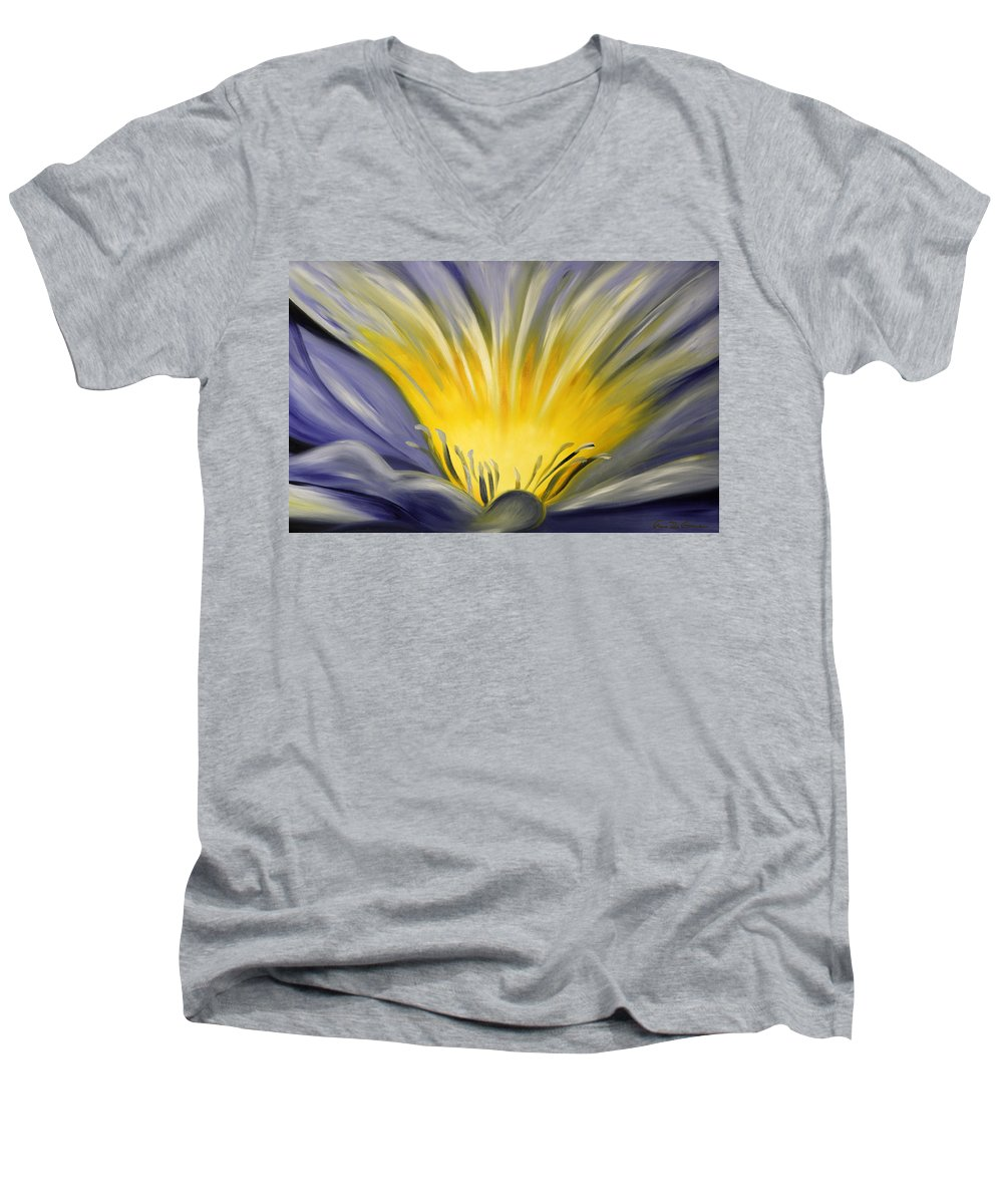 Blue Men's V-Neck T-Shirt featuring the painting From The Heart Of A Flower Blue by Gina De Gorna